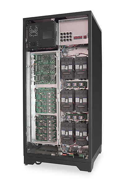 Type II STS units include six plug-in circuit breakers (CBs) and a graphical user-interface
